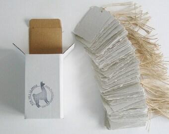 100 Recycled Tags - Llama Poo Tags - Handmade Tags - Eco Friendly Tags - Gift Tags - Swing Tags - Hang Tags - Eco Friendly Gifts