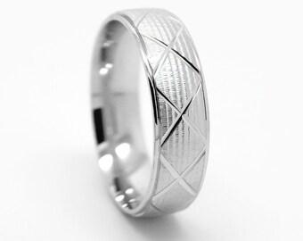 6 mm 925 Sterling Silver Wedding Band, Men Women ring, Silver Wedding Ring, Silver Band, X stripes ring, Rhomb Design Ring, Silver Ring 0002