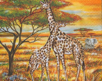 "10x African paper napkins serviettes No 45. Two giraffes. Ideal for decoupage, collage, scrapbooking. Size: 13""x13""(33cm x 33cm)"