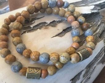 Rustic Bracelet Love Hippie Bracelet Women's stretch gemstone bracelet