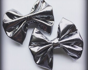 Silver Metallic Hair Bow Set of 2
