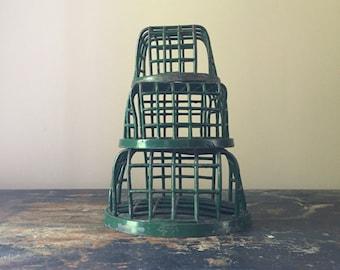 Vintage set of 3 cage style flower frogs. Dazey Company.