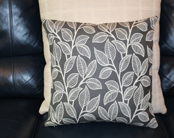 Handmade Cushion cover Cream embroidered leaf design on charcoal grey