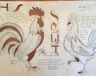 Vintage Wax Stencil,  Rooster and Hen Stencil; His and Hers; Vera Waters; 3 parts, Cut out