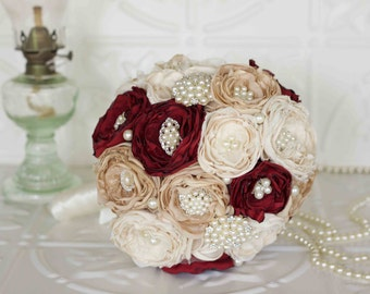Vintage Inspired Brooch Wedding Bouquet, Cream,  Burgundy and Champagne Satin, chiffon and Lace Bridal Bouquet
