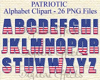 Red White & Blue Alphabet, Alphabet Clipart, 26 PNG Files, Digital Letters, Patriotic Letters, Election Clipart, Memorial Day, Commercial OK