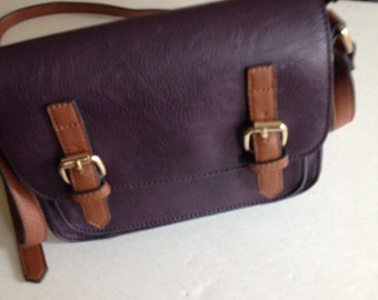 Deep plum crossbody small messenger bag vintge handbag