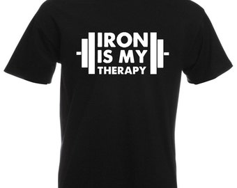 Mens T-Shirt with Iron is My Therapy Design / Bodybuilder Shirts / Bodybuilding Fitness Shirt for Training + Free Random Decal Gift