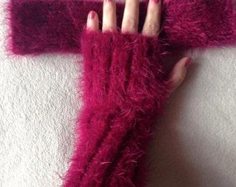 Hand Knitted Fluffy fingerless gloves/Wrist warmers