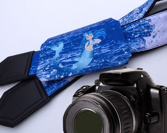 Camera Strap with pocket. Mermaid Camera Strap. Ocean camera strap. Sea camera strap. Camera accessories. Photographer gift.