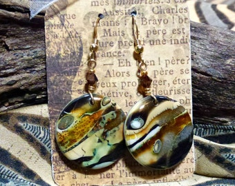 """Polymer Clay Earrings, """"Woodlands"""""""