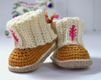 CROCHET PATTERN Baby Booties with Rib Cuffs 4 Sizes Baby Booties Easy Photo Tutorial Digital File Instant Download