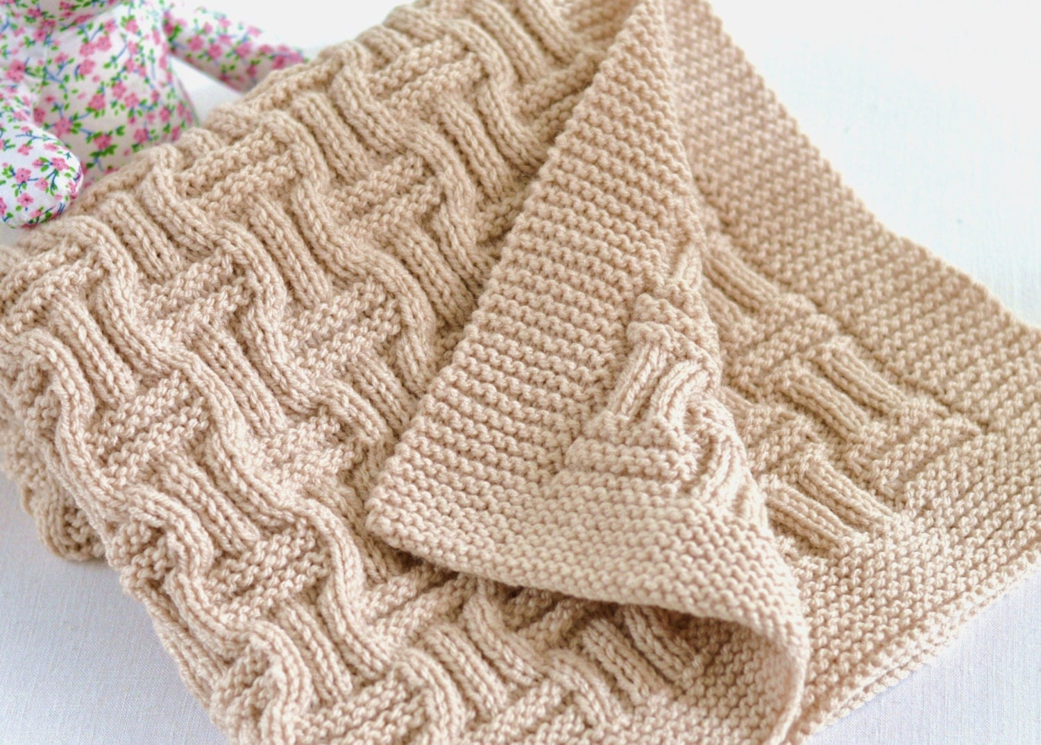 Basket Weave Pattern Knitting Afghan : Knitting pattern beginner knit baby blanket in double