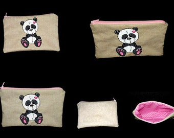 embroidered and zippered pouch panda (customizable)