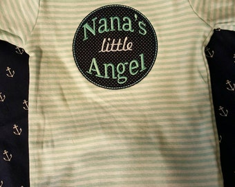 Appliqued onesie that says nanas little angel