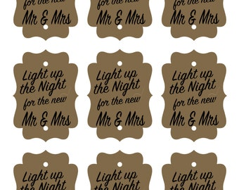 Light up the Night for the new Mr & Mrs Printable Sparkler Tag