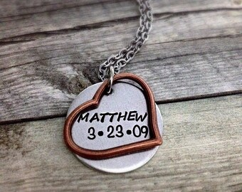 MOM NECKLACE, heart necklace, Personalized Necklace, Hand Stamped Necklace, Mother's Day gift, Mom Jewelry, mixed metal necklace