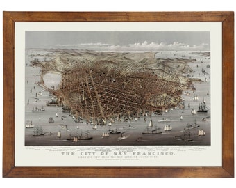 San Francisco, CA 1878 Bird's Eye View; 24x36 Print from a Vintage Lithograph