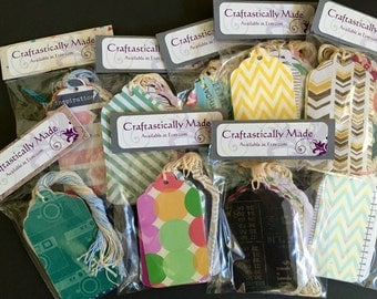 3 inch Paper Gift or Price Tags with String - Variety Pack Set of 18 - Scalloped Hang Tags