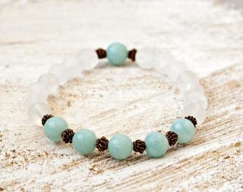 Amazonite Clear Quartz Copper Reiki Charged Chakra Balancing Intention Jewelry Energy Stones Yoga Bracelet