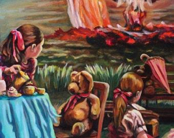 "Original Acrylic Painting, ""Tea Party""."