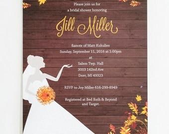 Autumn Bridal Shower Invitation, Fall Bridal Invitation, Fall Bridal Shower Invitation, Fall Leaves Invitation, Autumn Wedding Shower, brown