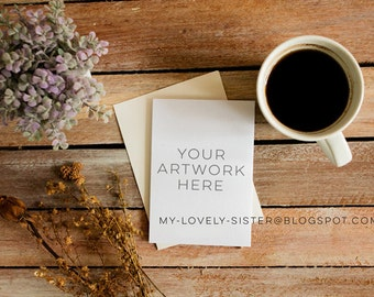 Greeting Card Mock Up, Card Mock Up, Styled Photography, Lavender, Rustic, coffee, Instant Download, Digital Download Photo, Stock Photos