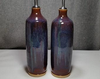 Made to Order** Ceramic olive oil cruet, stoneware oil pourer, pottery oil bottle, oil and vinegar ceramic bottle, Violet/ Blue hue