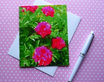 Pink Peonies note card, blank inside, hand made, fine art, A2 size, Waterlogue