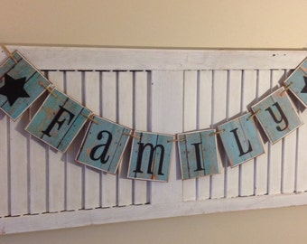 Family Banner Garland Sign Bunting Shabby Distressed Barn Siding Cards Primitive Photo Wall Decor