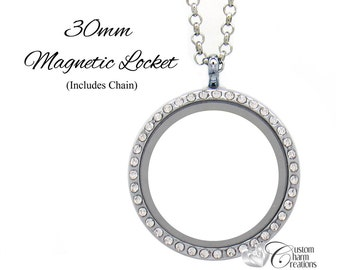 "Floating Locket Necklace with Crystals • Large 30 mm Round • Magnetic • 19"" Chain • Holds Floating Charms - LOC75"