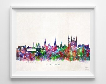 Kazan Skyline Print, Russia Print, Kazan Poster, Russia Cityscape, Wall Decor, Skyline, Giclee Art, Living Room Decor, Back To School