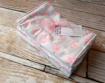 Premium 3 Burp Cloth Bundle Set Large Flannel and Terry Cloth - Light Pink Birds, White Hearts on Light Gray Background Baby Girl