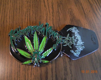 "Mint with  tags- Officially Licensed ""KOTTONMOUTH KINGS "" Pot Leaf Metal Belt Buckle"