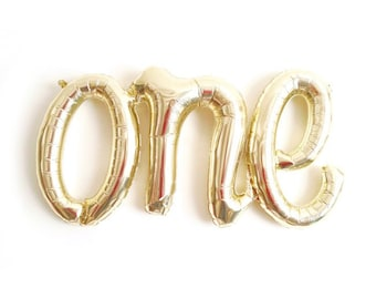 """ONE script balloon or Rose Gold One 16"""" or ONE spelled out, First Birthday Balloon, Number one balloon, Number 1 balloon, Script balloon"""