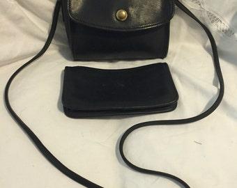 Vintage Coach black leather bag and wallet