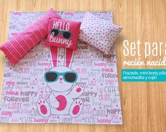 Hello Bunny baby blanket set