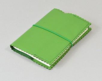 A6 Green Leather Notebook with Scallop Edge detail - Includes Plain Page A6 Notebook