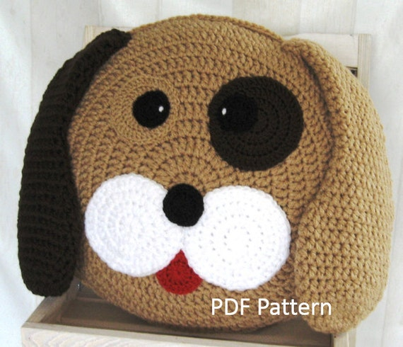 Animal Pillow Patterns Free : Dog Pillow - Cushion CROCHET PATTERN - crochet patterns for animal pillows - Kids Birthday ...