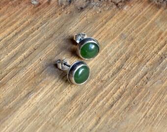 Nephrite Jade Posts, Small Studs, Jade Studs, Boho Earrings, Bohemian Jewelry, Gemstone Posts, Silver Posts, Every Day Studs