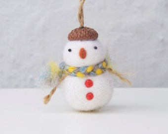 needle felted snowman ornament, Christmas ornament, needle felted ornament, Christmas gift for kid, snowman decoration, christmas decoration
