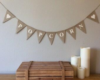 Popcorn Sweet Cart Hessian Bunting Banner Wedding Vintage Burlap