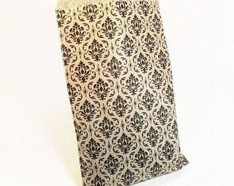 """100 6"""" x 9"""" Paper Gift Bags - Kraft Damask"""