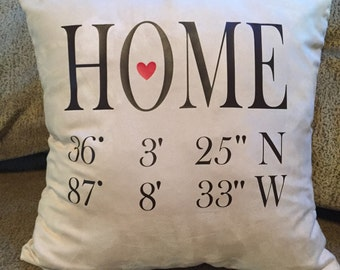 HOME GPS pillow Cover ~ latitude and Longitude ~ Decorative Pillow Cover/Case
