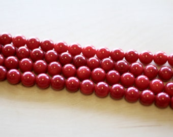 8MM Red Coral Beads
