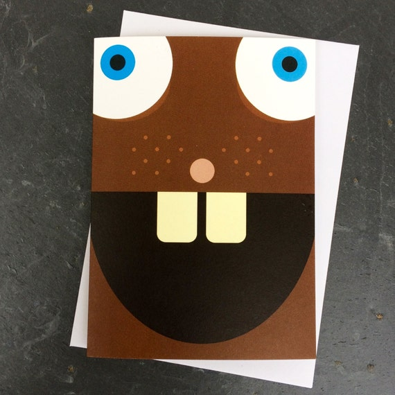 funny beaver card, cute beaver card, child's beaver card, kids beaver card