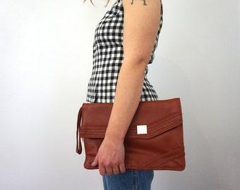 70s Vintage Orange Leather Clutch// Vintage Clutch// Evening Bag// Burnt Orange// Rust Orange