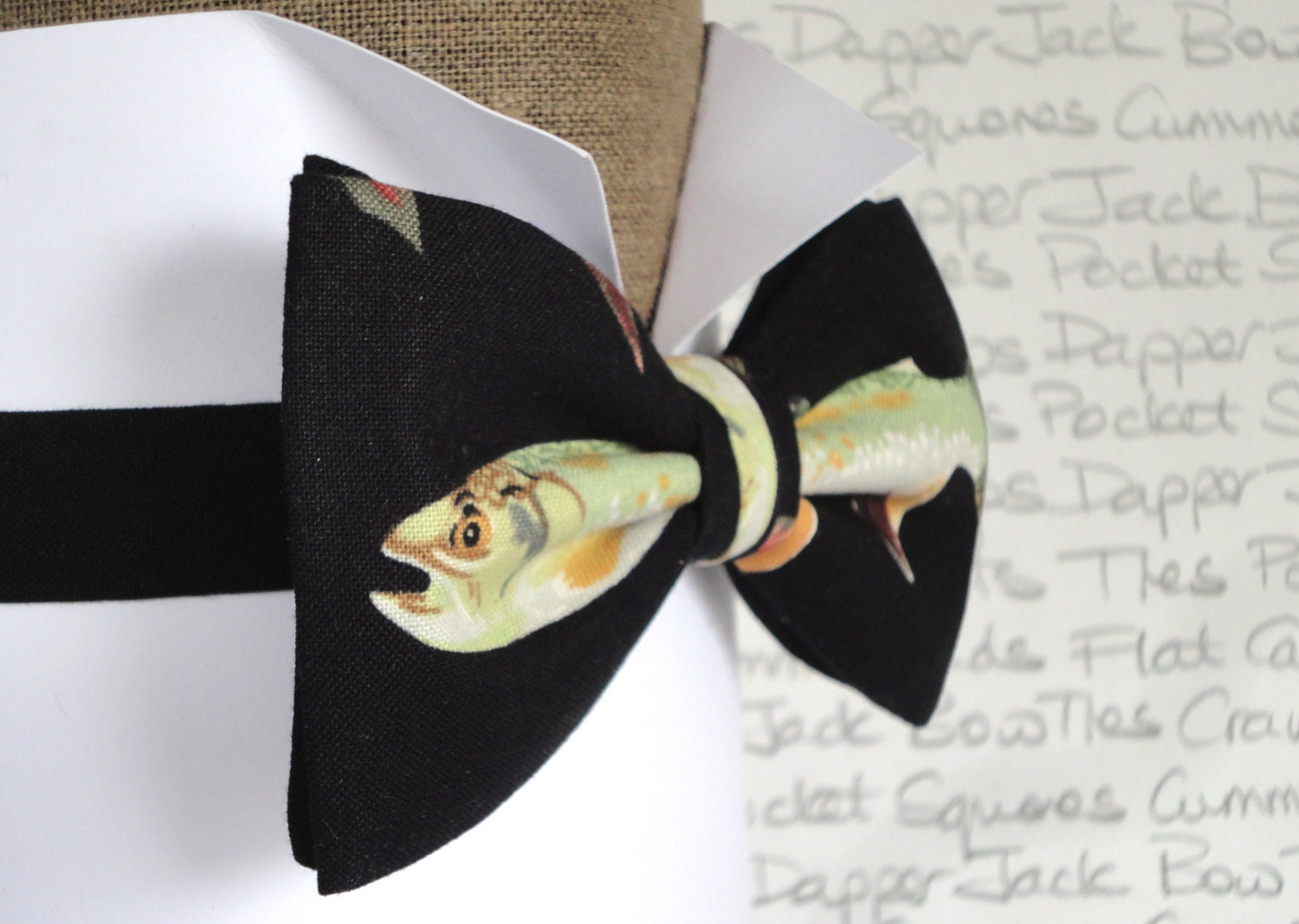 Bow tie bow ties for men fish print bow tie fisherman 39 s for Fish bow tie