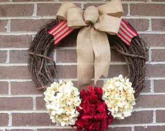 Grapevine Wreath, Grapevine Door Wreath, Hydrangea Wreath, Christmas Wreath, Hydrangea Christmas Wreath, Door Wreath, Year Around Wreath