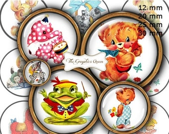 "80 % off SaLe 12 mm, 20mm, 25 mm, 30 mm, 1 inch Cute Animals Digital Images for Bottle Caps 1"" Button Circles Digital Collage Sheet"